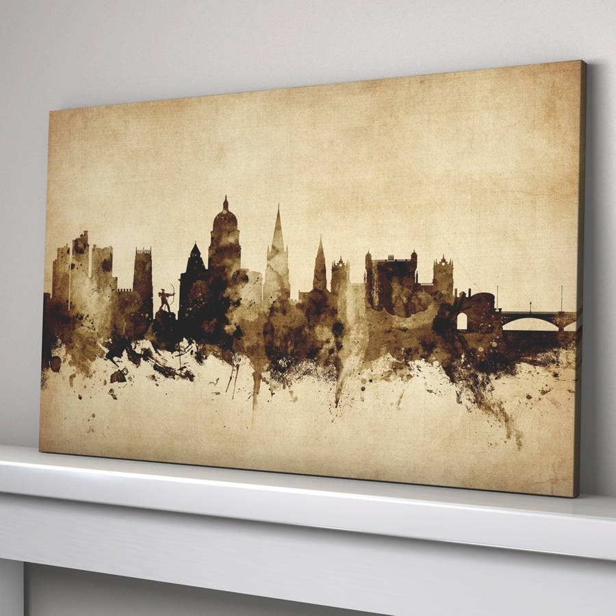 Nottingham Skyline Cityscape Vintage Art Printartpause Inside 2018 Nottingham Canvas Wall Art (View 10 of 15)