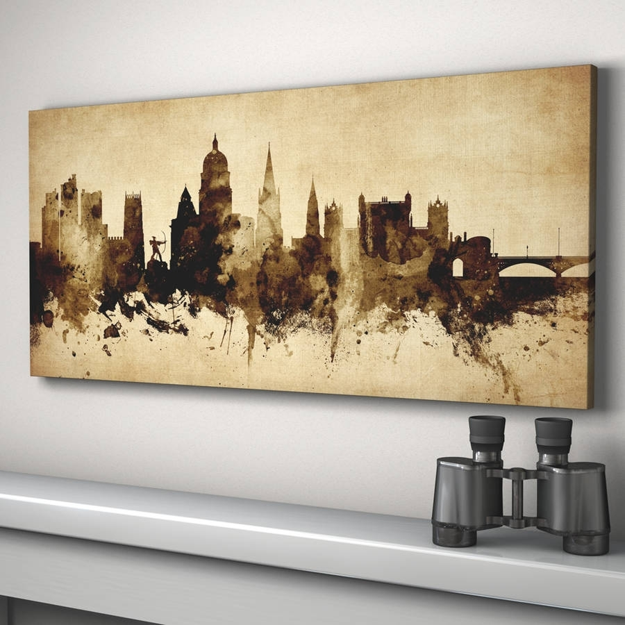 Nottingham Skyline Cityscape Vintage Art Printartpause Inside Most Recently Released Nottingham Canvas Wall Art (View 11 of 15)