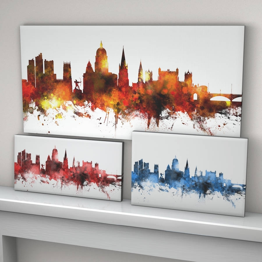 Nottingham Skyline Cityscapeartpause | Notonthehighstreet Within 2018 Nottingham Canvas Wall Art (View 12 of 15)