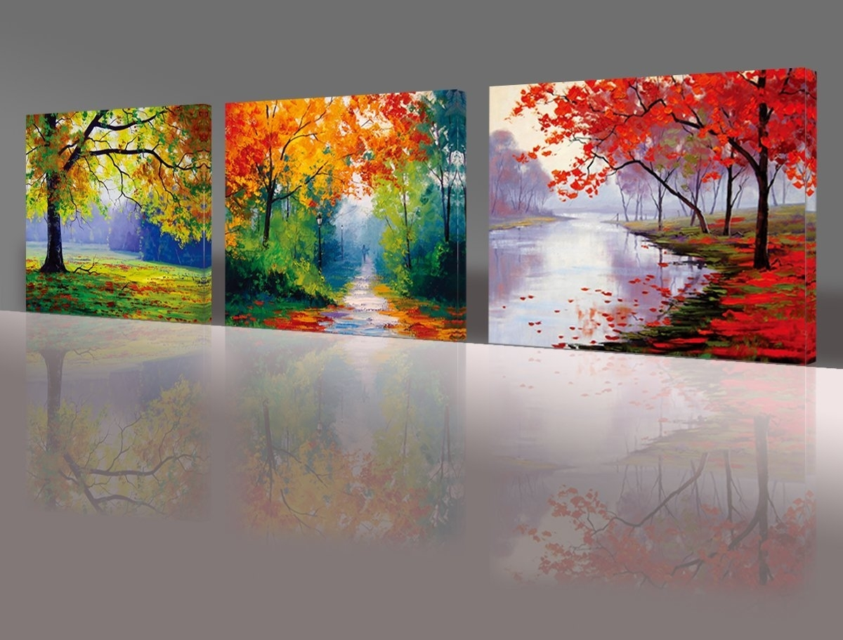 Nuolan Art – Framed Ready To Hang 3 Panels Modern Landscape Canvas Intended For Newest Landscape Canvas Wall Art (Gallery 3 of 15)
