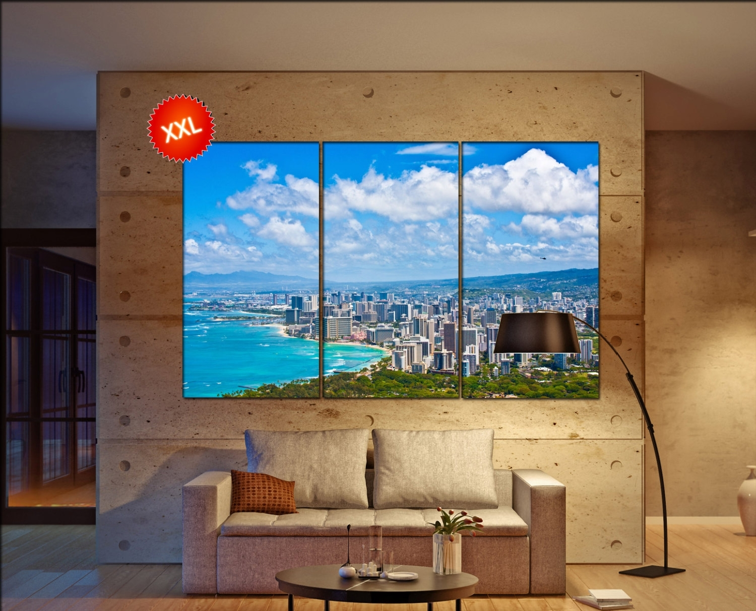 Oahu Skyline Wall Decor Art Oahu Skyline Black White Oahu Skyline Within Most Recently Released Hawaii Canvas Wall Art (Gallery 12 of 15)