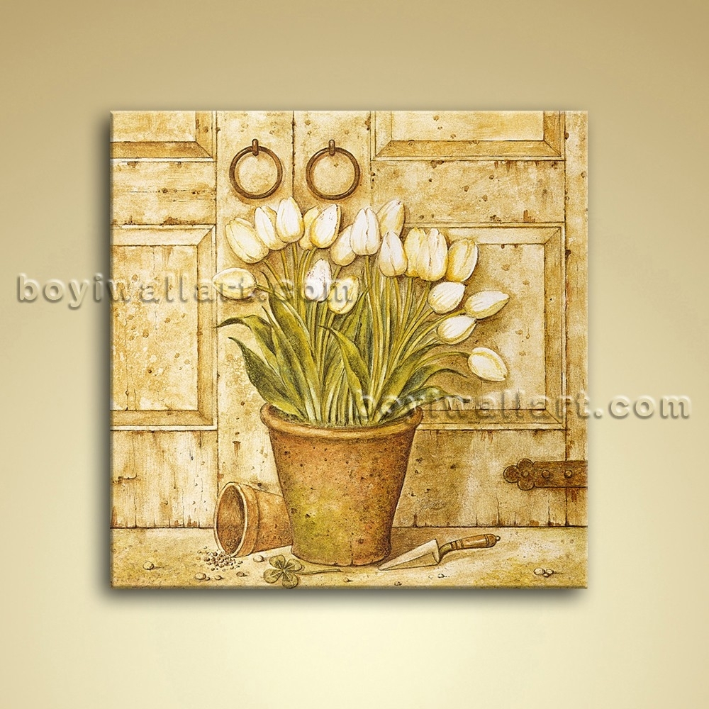 Oil Painting Oil Canvas Wall Art Retro Abstract Flower Home Decor Inside Most Recent Canvas Wall Art Of Flowers (View 11 of 15)