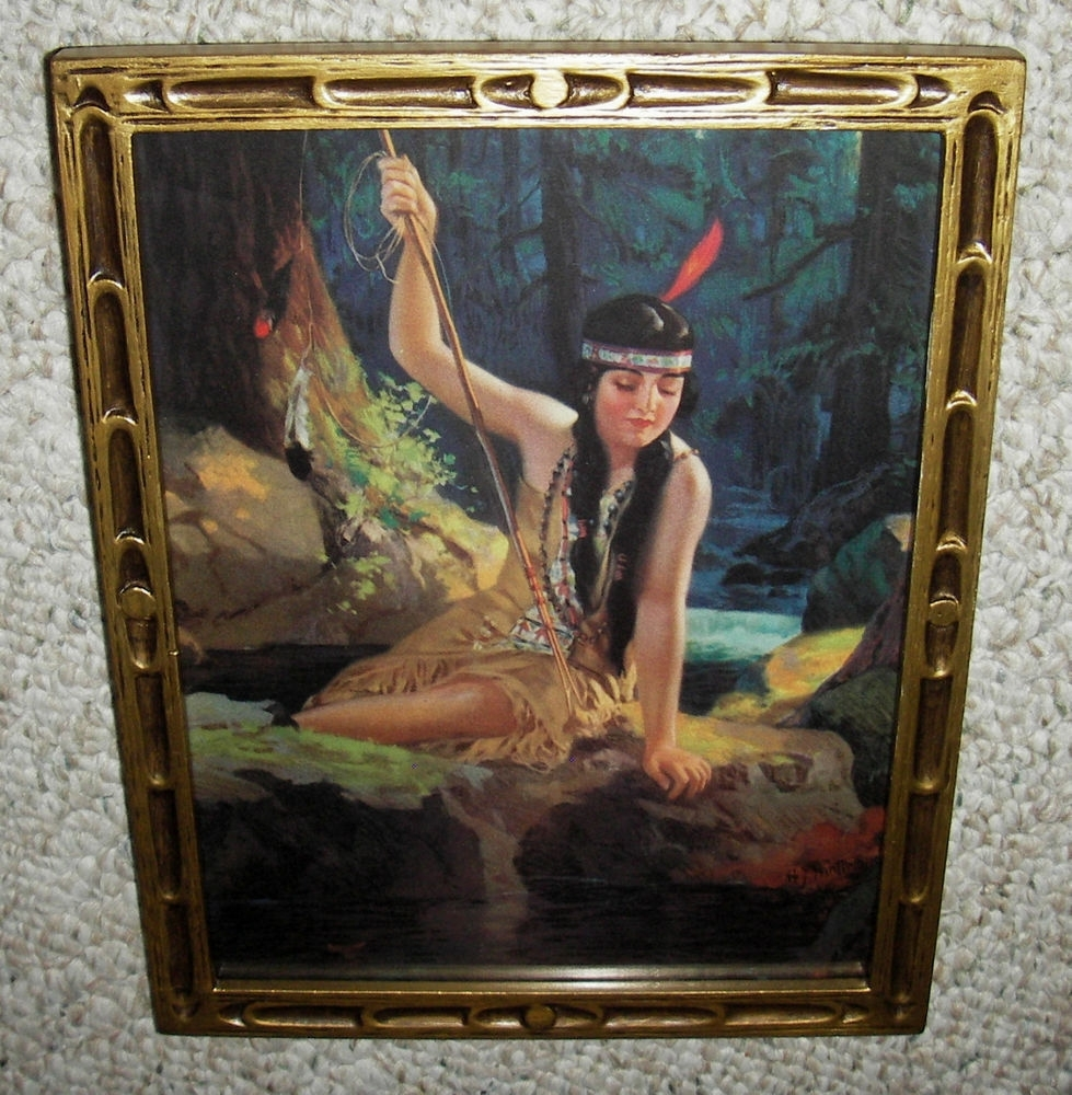 Old Org Print ~ Young Indian Maiden ~ Iona ~ Spear Fishing ~ Old Pertaining To 2017 Antique Framed Art Prints (View 11 of 15)