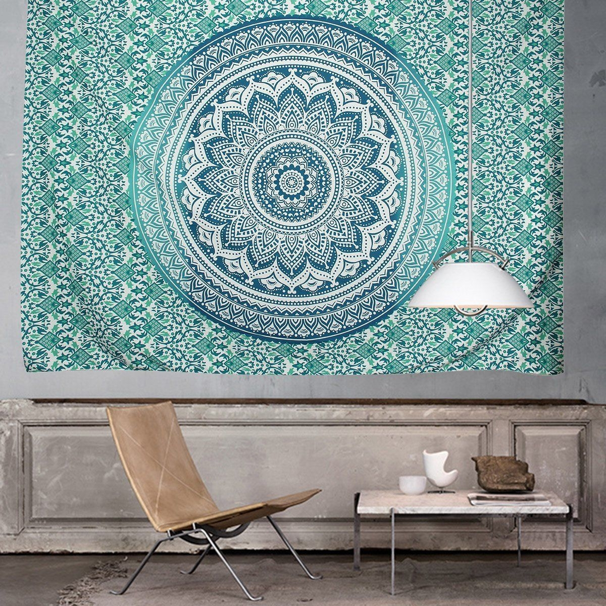 Ombre Indian Wall Hanging Hippie Mandala Tapestry Bohemian Inside Best And Newest Indian Fabric Wall Art (Gallery 7 of 15)