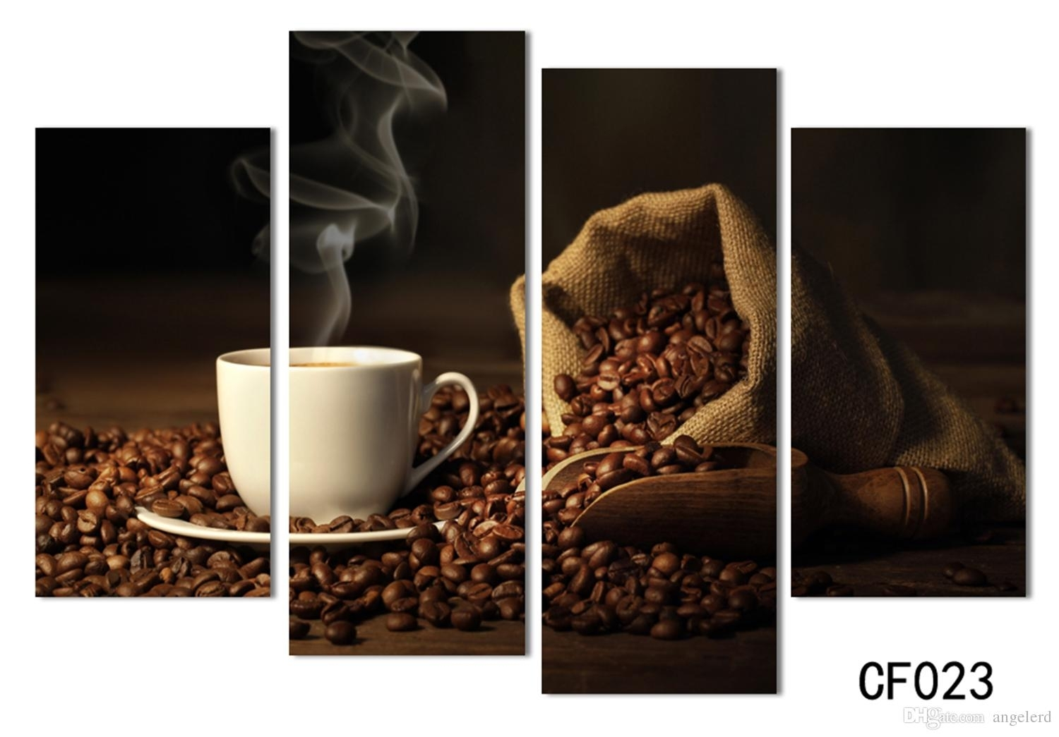 Online Cheap 4 Panels Modern Printed Coffee Canvas Art Painting In Recent Coffee Canvas Wall Art (Gallery 5 of 15)