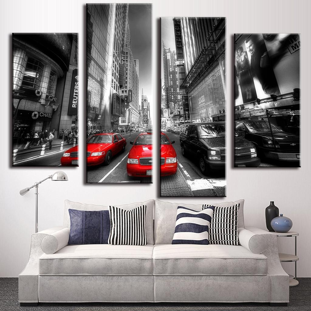 Online Shop 4 Pcs/set New Arrival Modern Wall Painting Canvas Wall In Most Up To Date Canvas Wall Art In Red (Gallery 12 of 15)