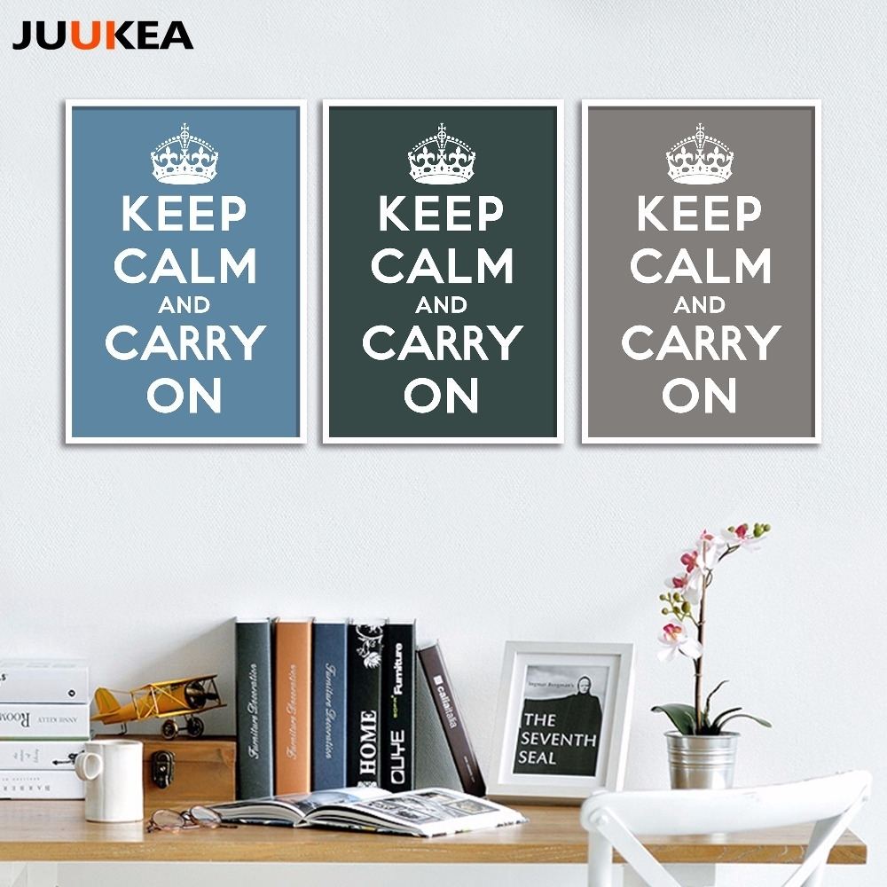 Online Shop World War Ii Classic Keep Calm And Carry On, Canvas Regarding Newest Keep Calm Canvas Wall Art (Gallery 10 of 15)