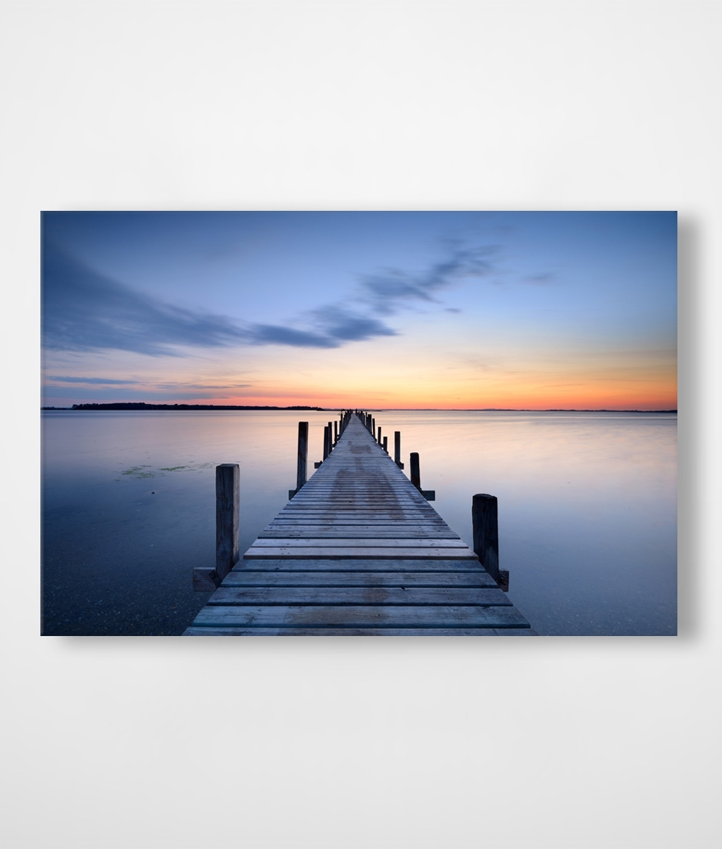 Orange & Blue Sunset Jetty Canvas Print | Framingland intended for Most Recent Jetty Canvas Wall Art