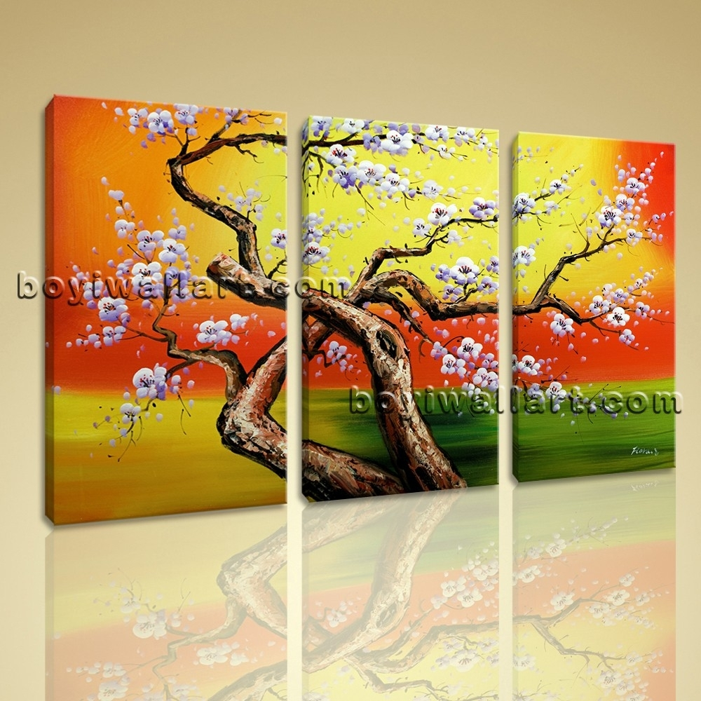 Original Abstract Floral Painting Print Cherry Blossom Tree Canvas In Most Recent Canvas Wall Art Of Trees (View 13 of 15)