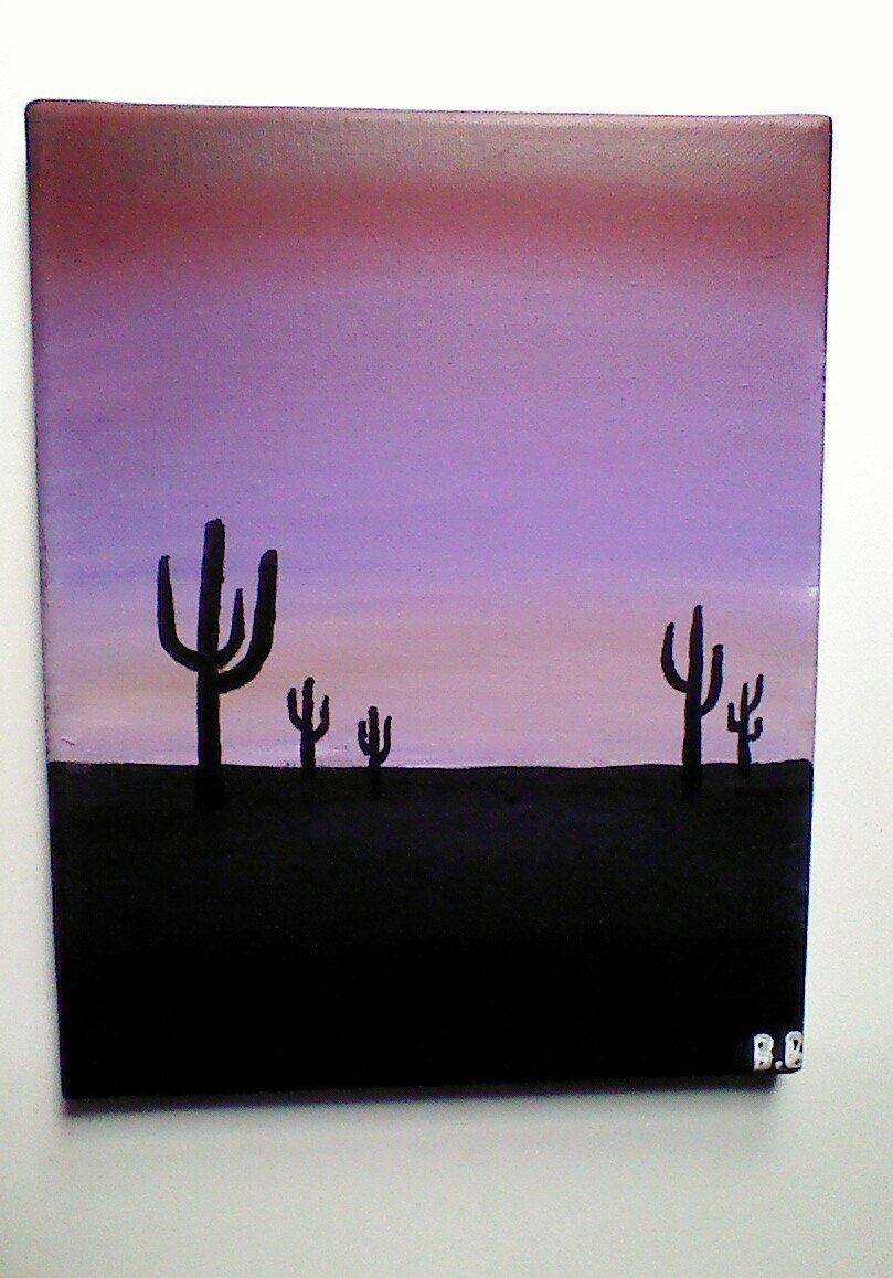 Original Arizona Sunset With Cactus Acrylic Painting, Nature inside Recent Arizona Canvas Wall Art