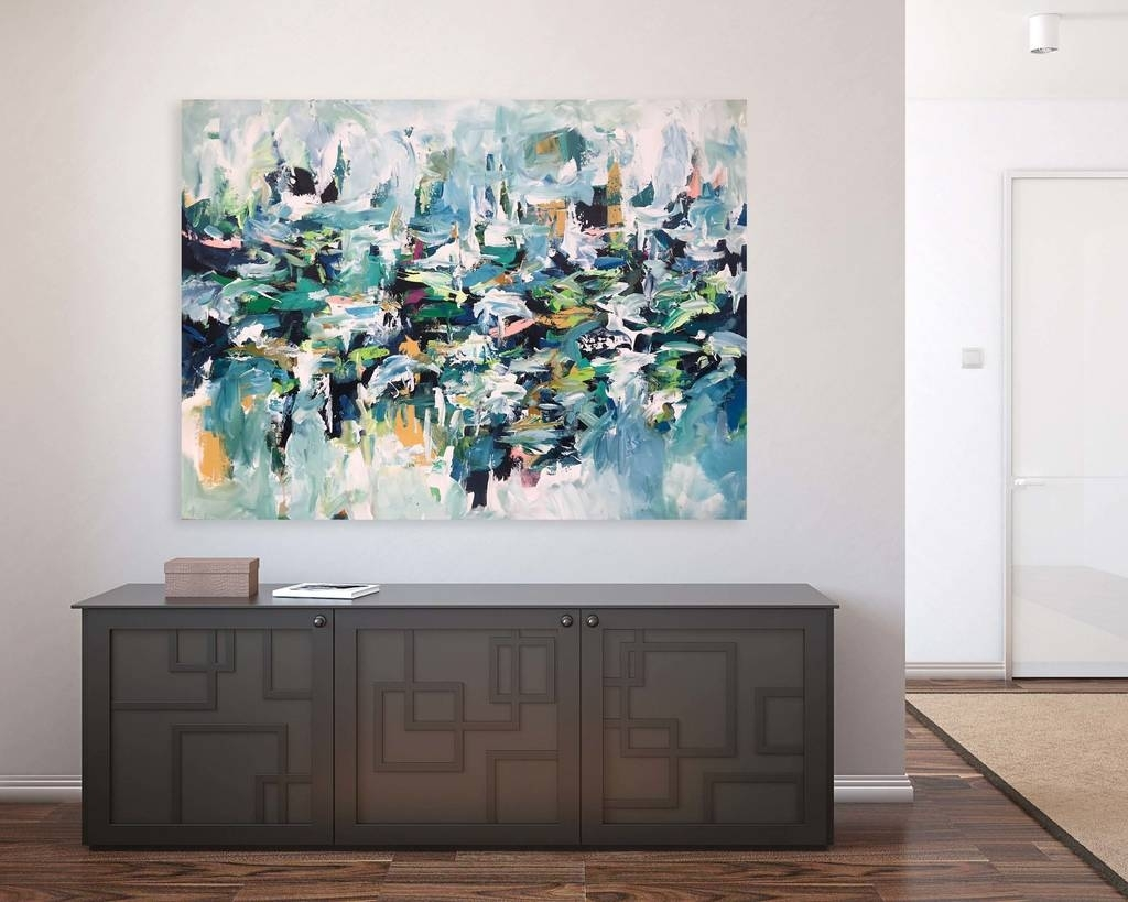 Original Large Abstract Painting Canvas Wall Artomar Obaid With Newest Canvas Wall Art Of Philippines (Gallery 8 of 15)
