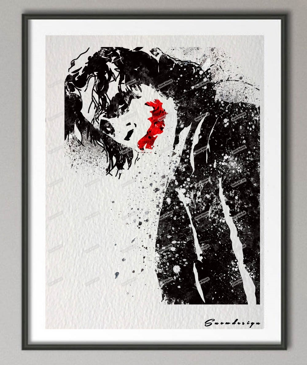 Original Watercolor Batman Heath Ledger Joker Poster Print Intended For Most Recently Released Joker Canvas Wall Art (View 9 of 15)