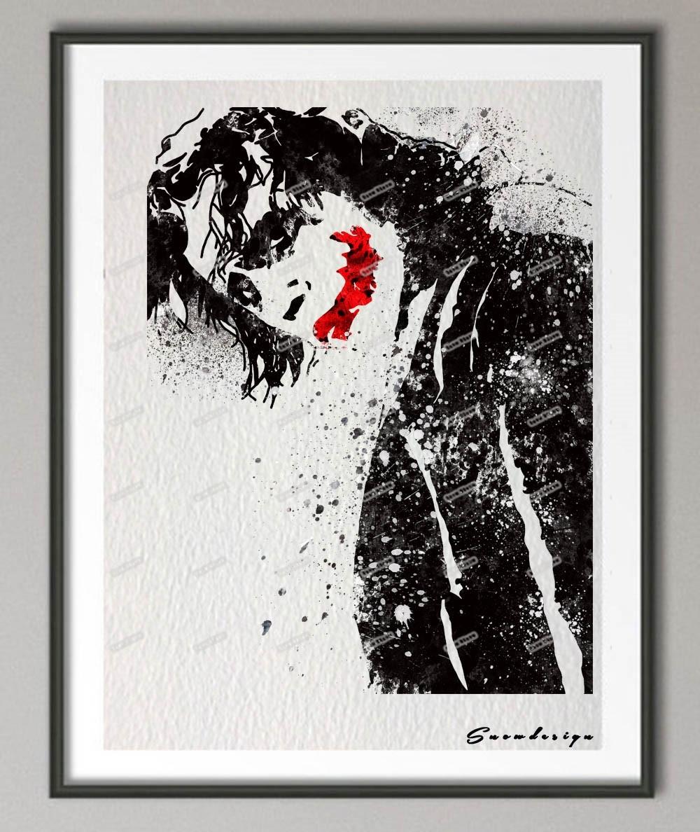 Original Watercolor Batman Heath Ledger Joker Poster Print Intended For Most Recently Released Joker Canvas Wall Art (View 10 of 15)