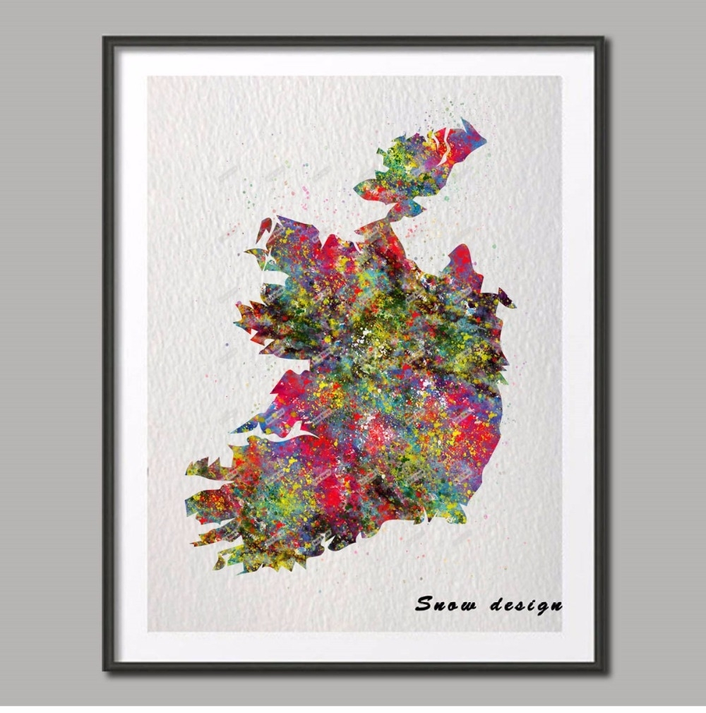 Original Watercolor Ireland Map Poster Print Pictures World Map throughout Latest Ireland Canvas Wall Art