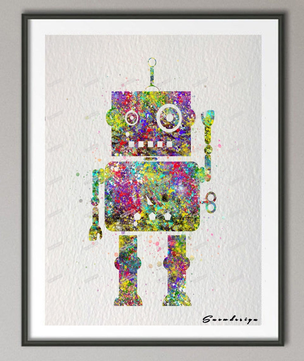 Original Watercolor Robot Canvas Painting Nursery Wall Art Poster within Latest Robot Canvas Wall Art