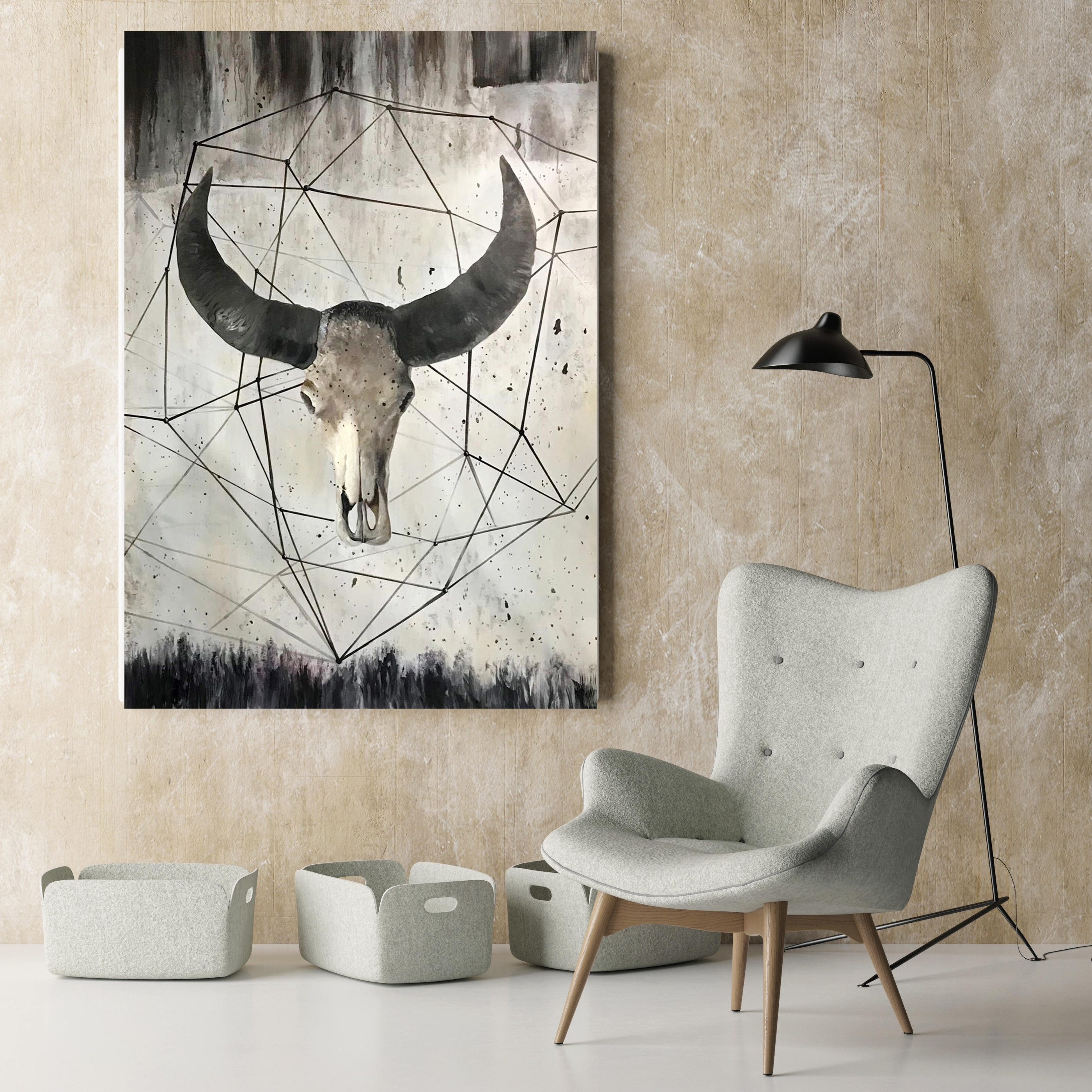 Orl 9981 12 Buffalo Skull 2. Extra Large Rustic Buffalo Skull Pertaining To Latest Rustic Canvas Wall Art (Gallery 11 of 15)