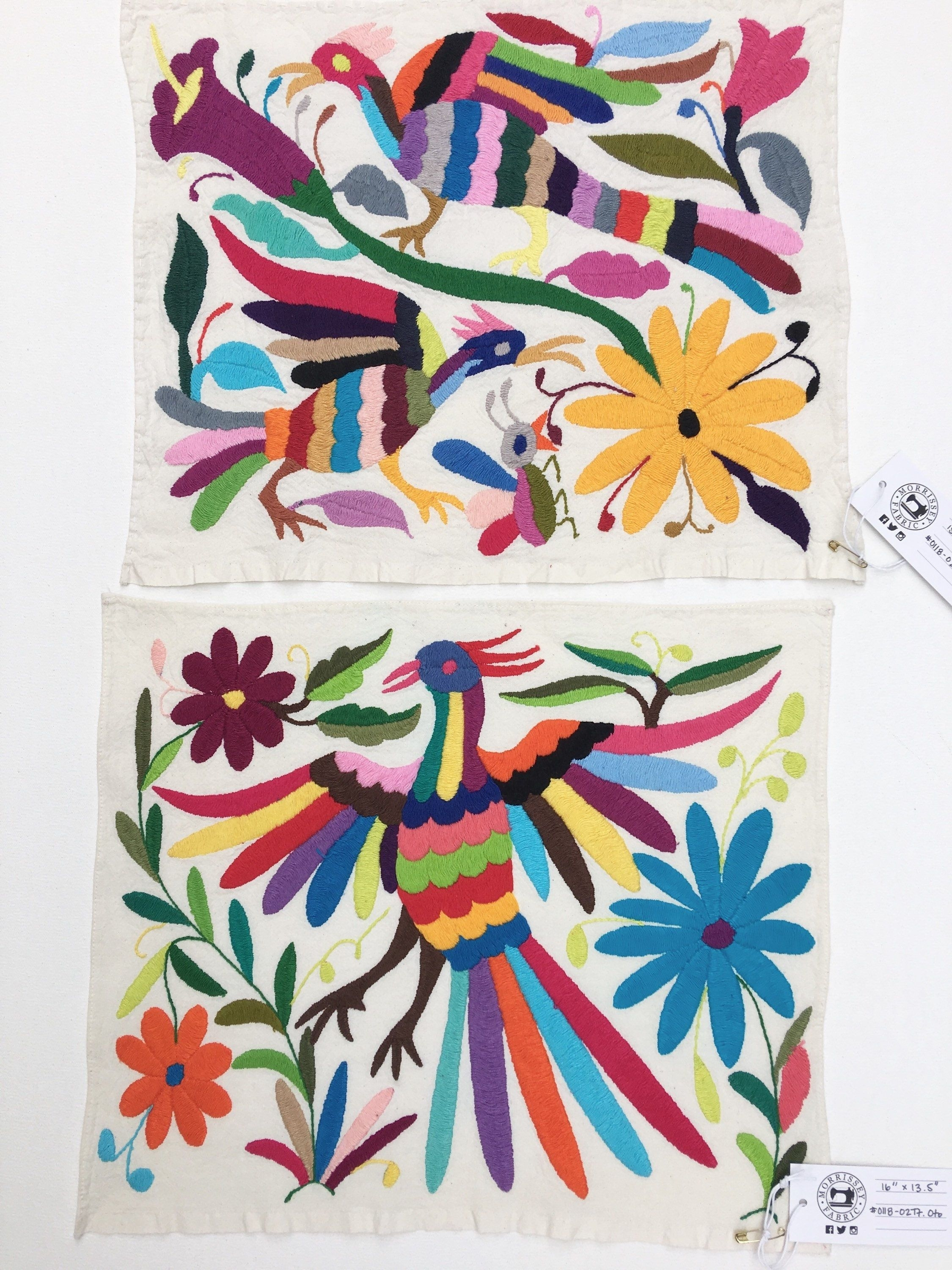 Otomi Mexican Embroidered Textile, Hand Embroidery On Ivory Cotton Inside Recent Mexican Fabric Wall Art (View 12 of 15)