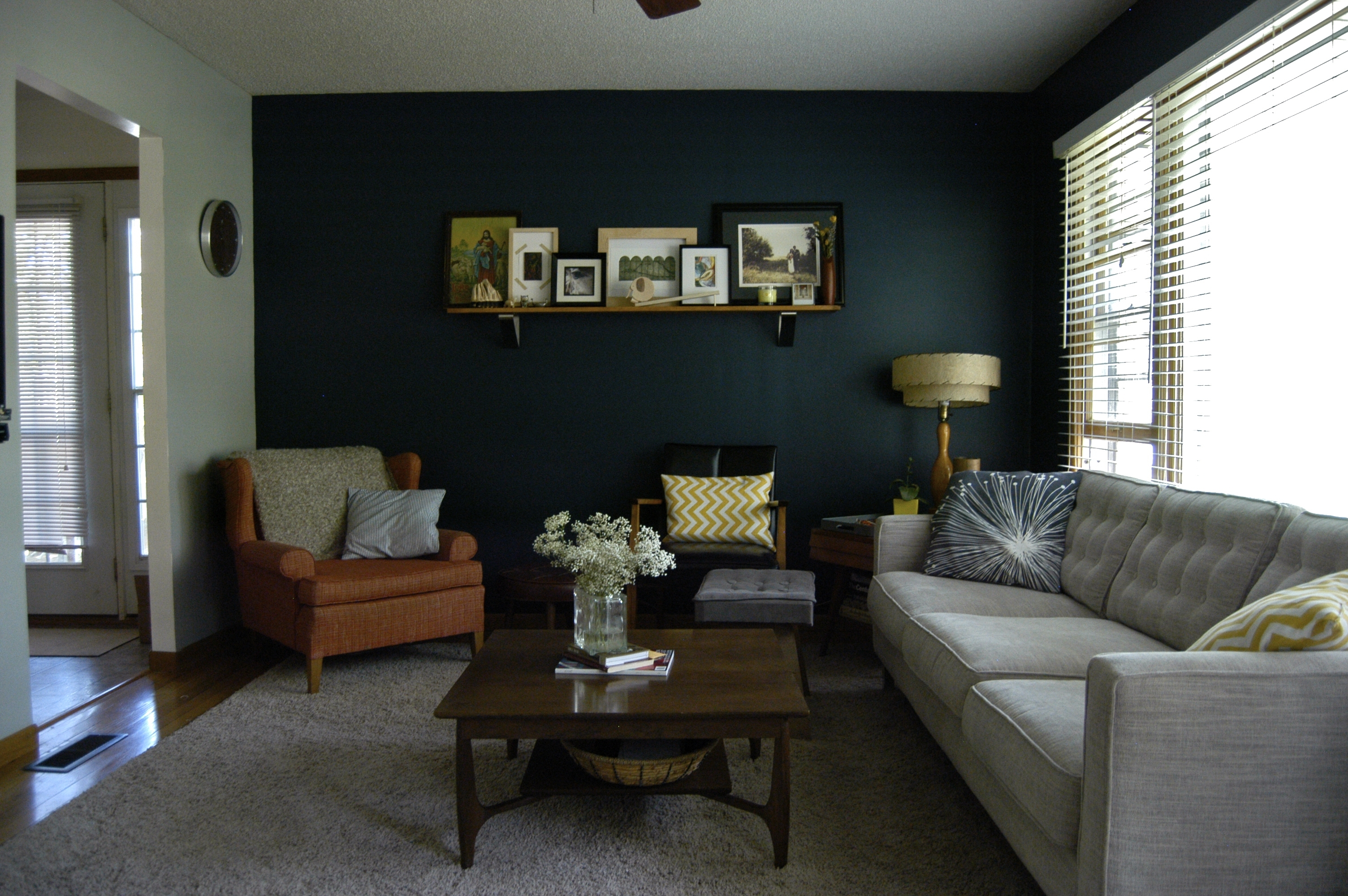 Our New Navy Accent Wall! The Other Walls Are A Medium Gray With Regard To 2017 Navy Wall Accents (View 11 of 15)