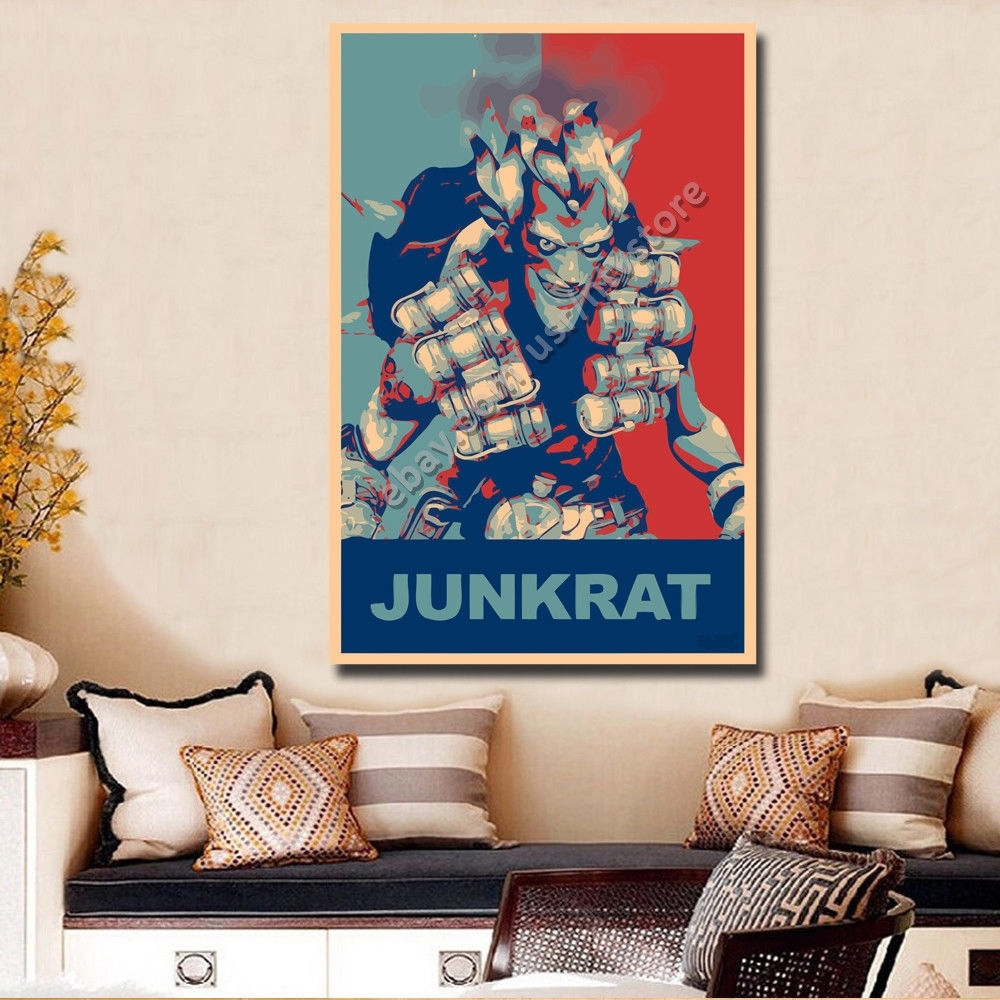 Overwatch Poster Junkrat Silk Wall Art Retro Home Room Decor Print With Most Recent Silk Fabric Wall Art (View 11 of 15)