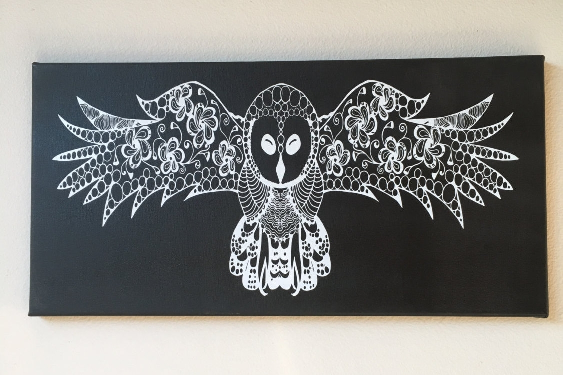 Owl, Night Owl, Painting, Vinyl, Wall Accent, Art, Decor, Vinyl In Newest Ku Canvas Wall Art (Gallery 2 of 15)
