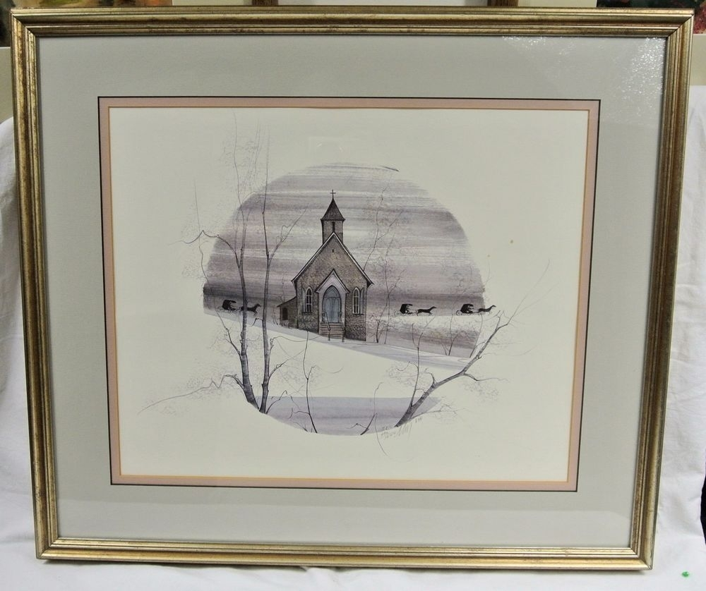 "P. Buckley Moss ""country Church"" Nags Head Nc Signed & Numbered For 2017 Framed Folk Art Prints (Gallery 7 of 15)"