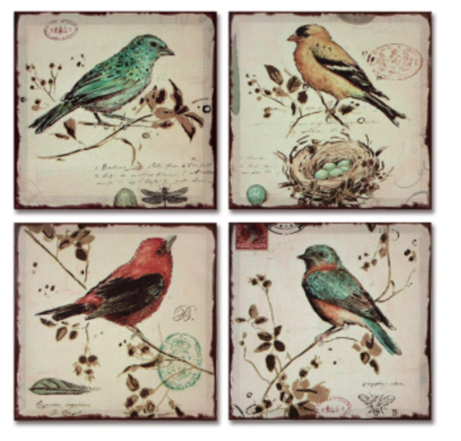 Pack Of 4 Multi Colored Bird Canvas Wall Hangings Wall Art Decor With Regard To Newest Birds Canvas Wall Art (View 9 of 15)