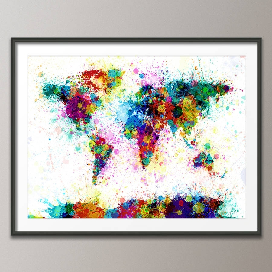 Paint Splashes World Map Art Printartpause throughout Best and Newest Abstract Framed Art Prints