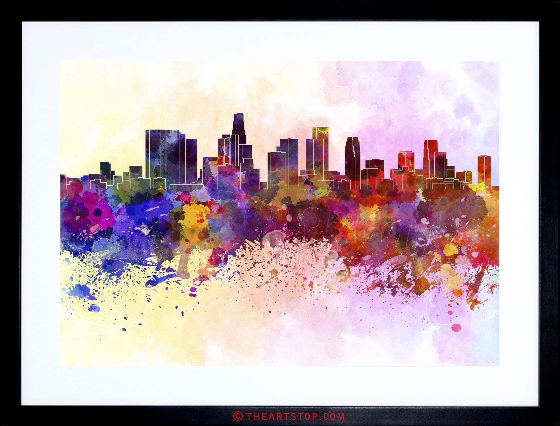 Painting Cityscape Paint Splash Skyline Los Angeles Framed Print For Most Up To Date Los Angeles Framed Art Prints (View 10 of 15)