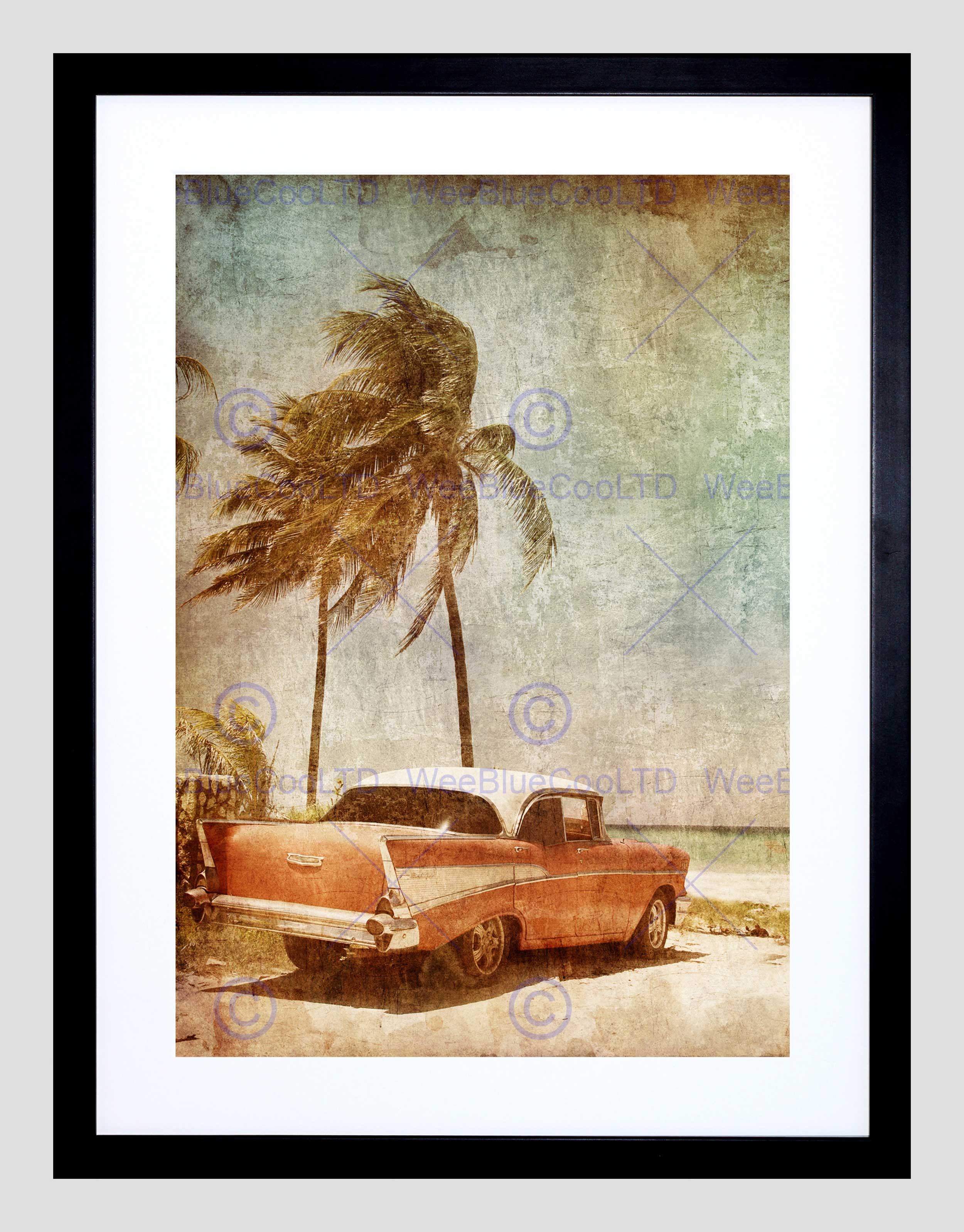 Painting Drawing Vintage Car Tropical Palm Beach Framed Art Print With Latest Framed Beach Art Prints (View 10 of 15)