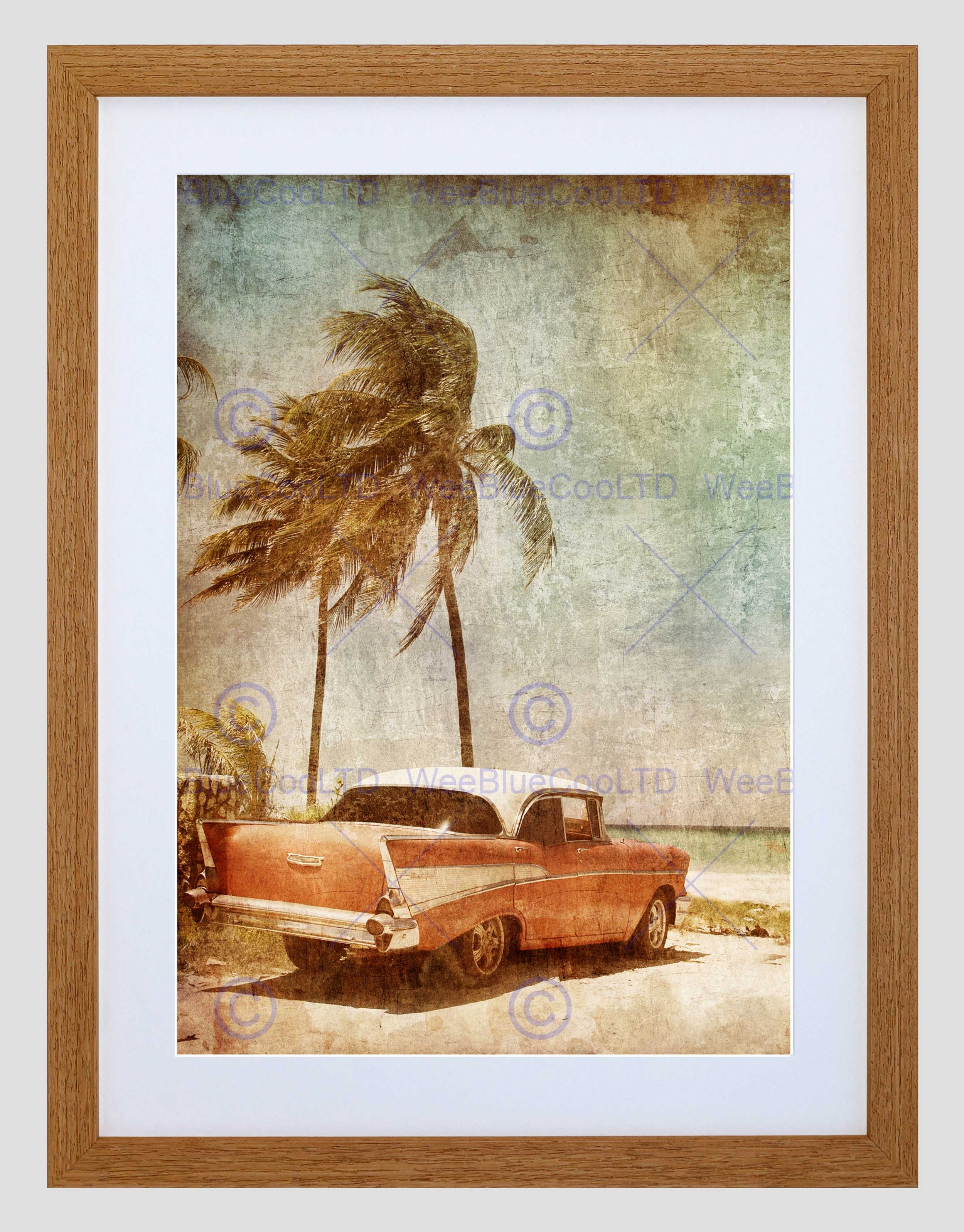 Painting Drawing Vintage Car Tropical Palm Beach Framed Art Print With Regard To Most Up To Date Framed Beach Art Prints (View 11 of 15)