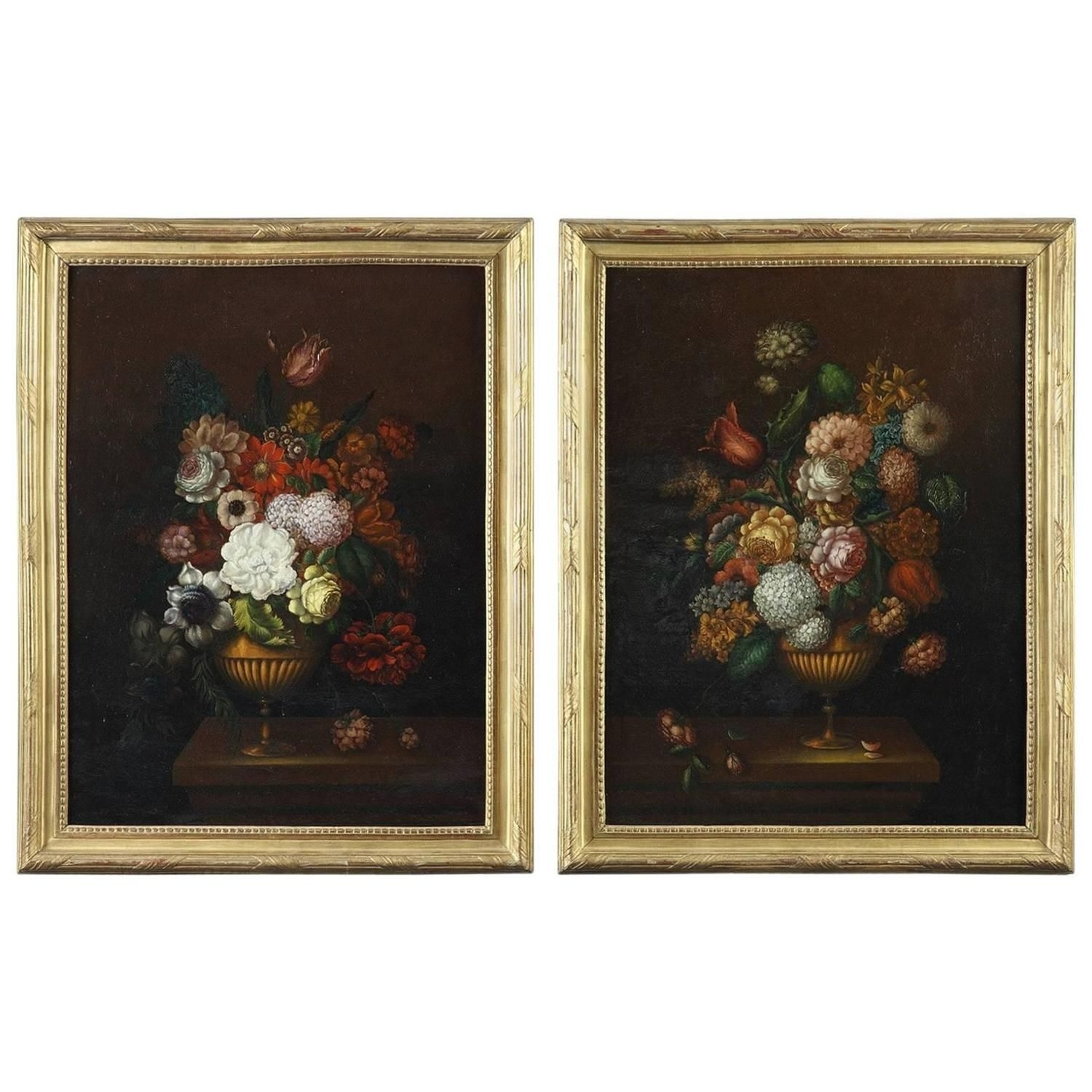 Pair Of Oil On Canvas Paintings, Flower Bouquets From 19Th Century Pertaining To 2017 Canvas Wall Art Pairs (View 9 of 15)