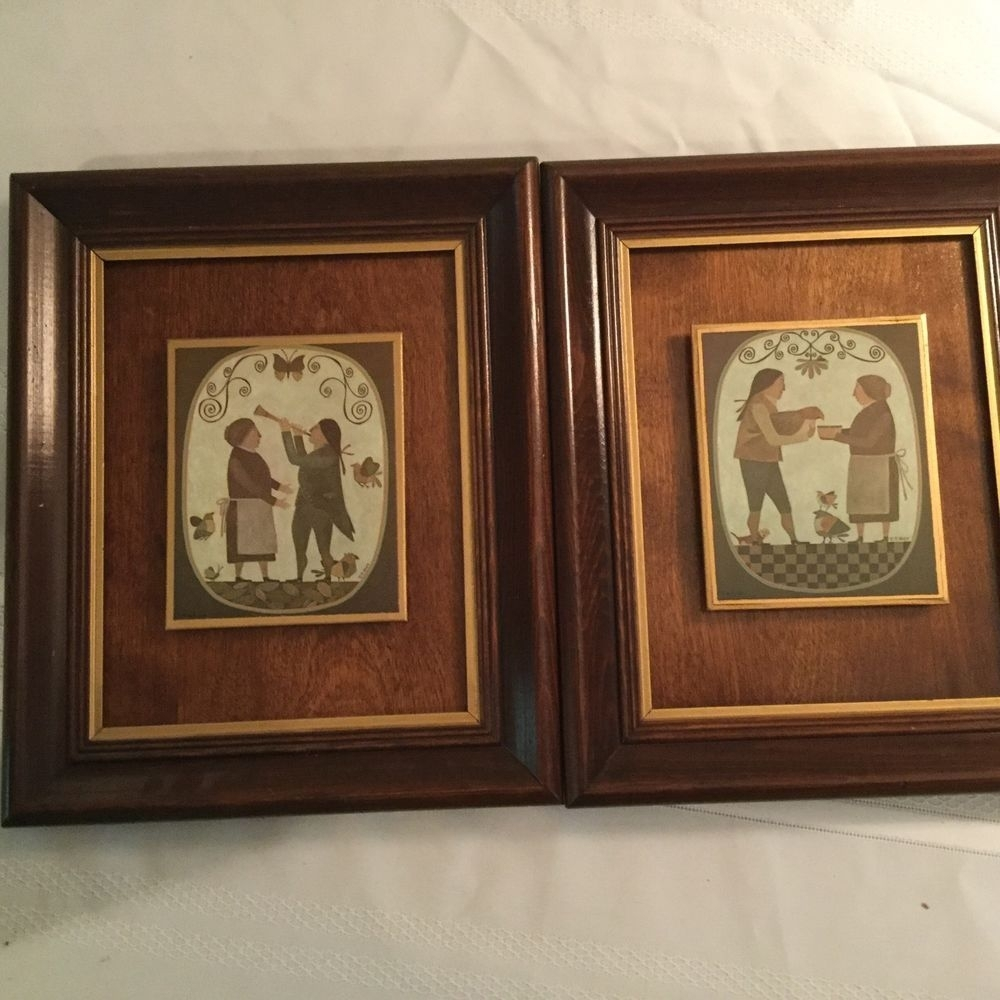 Pair Of R Davey Primitive Prints Wood Panel Backing Framed Peck Intended For Most Popular Framed Folk Art Prints (View 11 of 15)