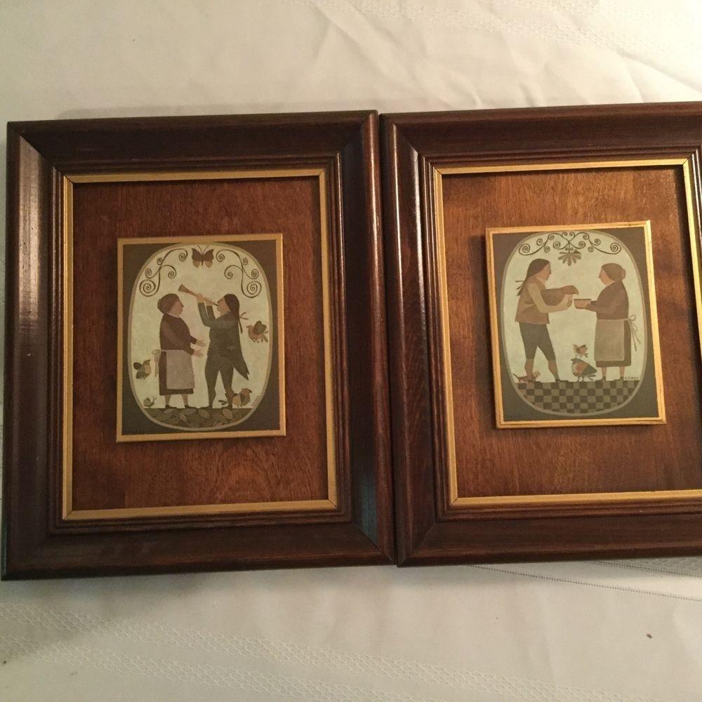 Pair Of R Davey Primitive Prints Wood Panel Backing Framed Peck intended for Most Popular Framed Folk Art Prints