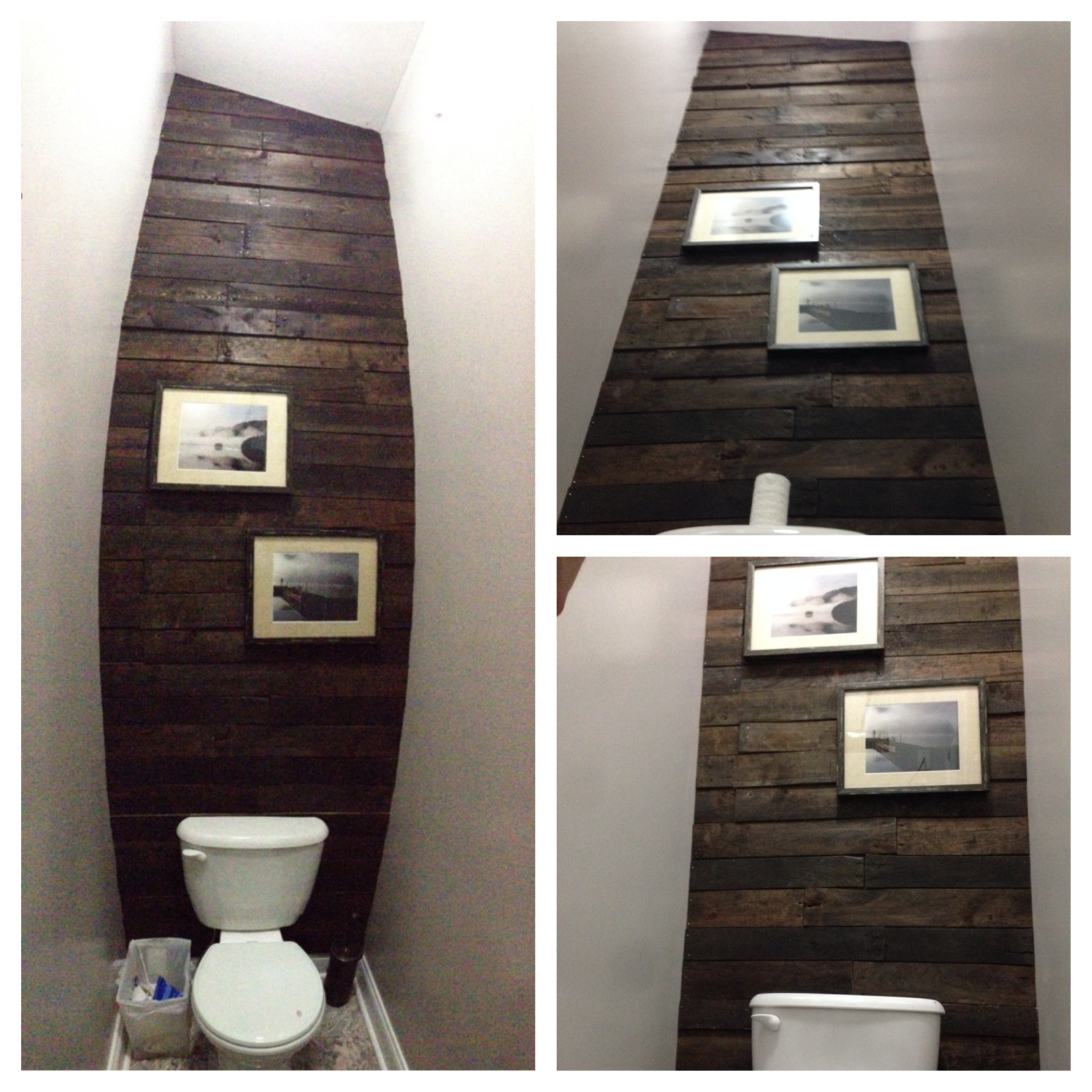 Pallet Accent Wall In Water Closet – Cut Up About 7 Pallets To Get Throughout Best And Newest Wall Accents Behind Toilet (Gallery 3 of 15)