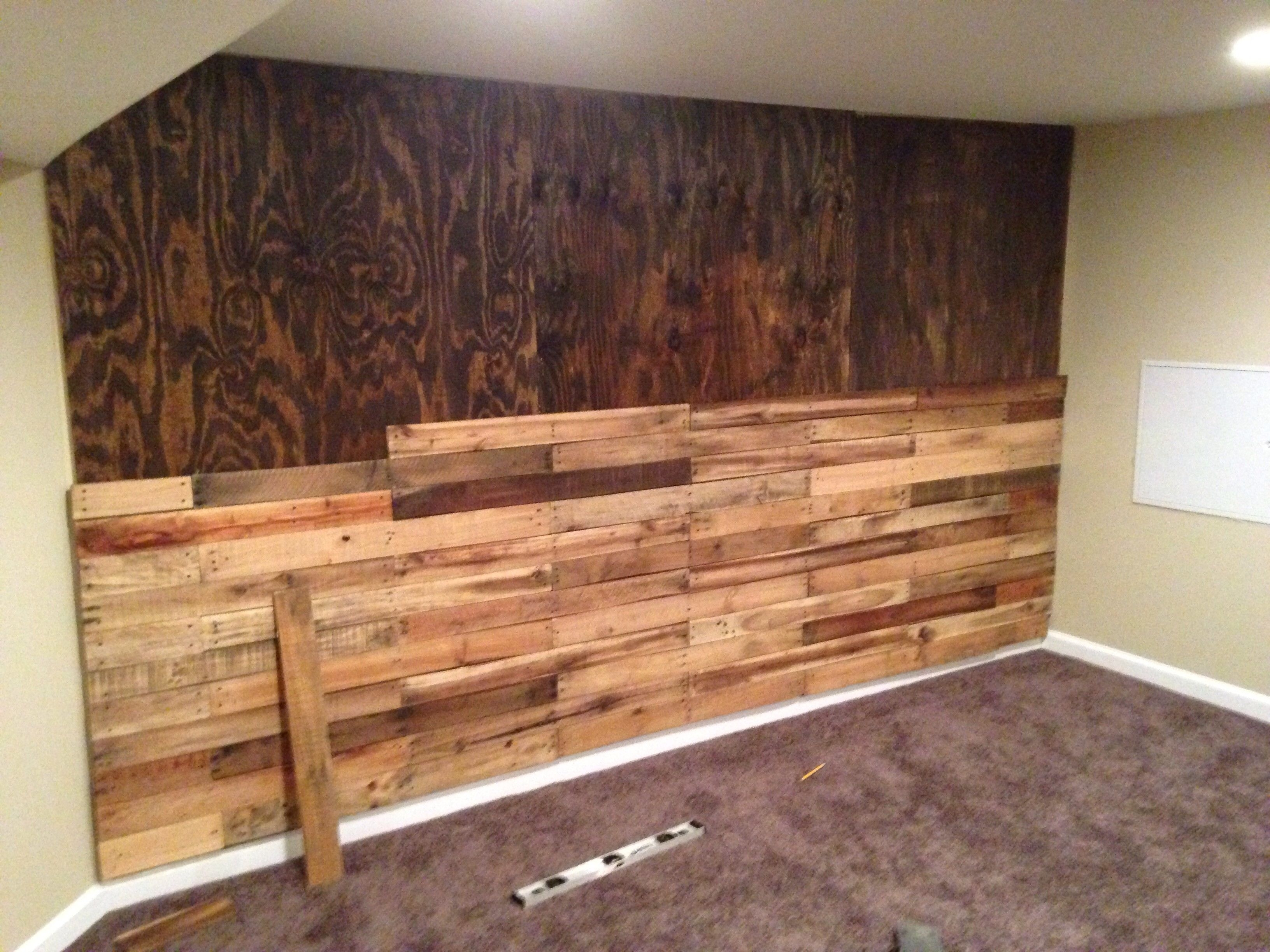 Pallet Accent Wall! | Pallet Accent Wall, Pallets And Walls Throughout Most Recent Wood Pallets Wall Accents (Gallery 7 of 15)