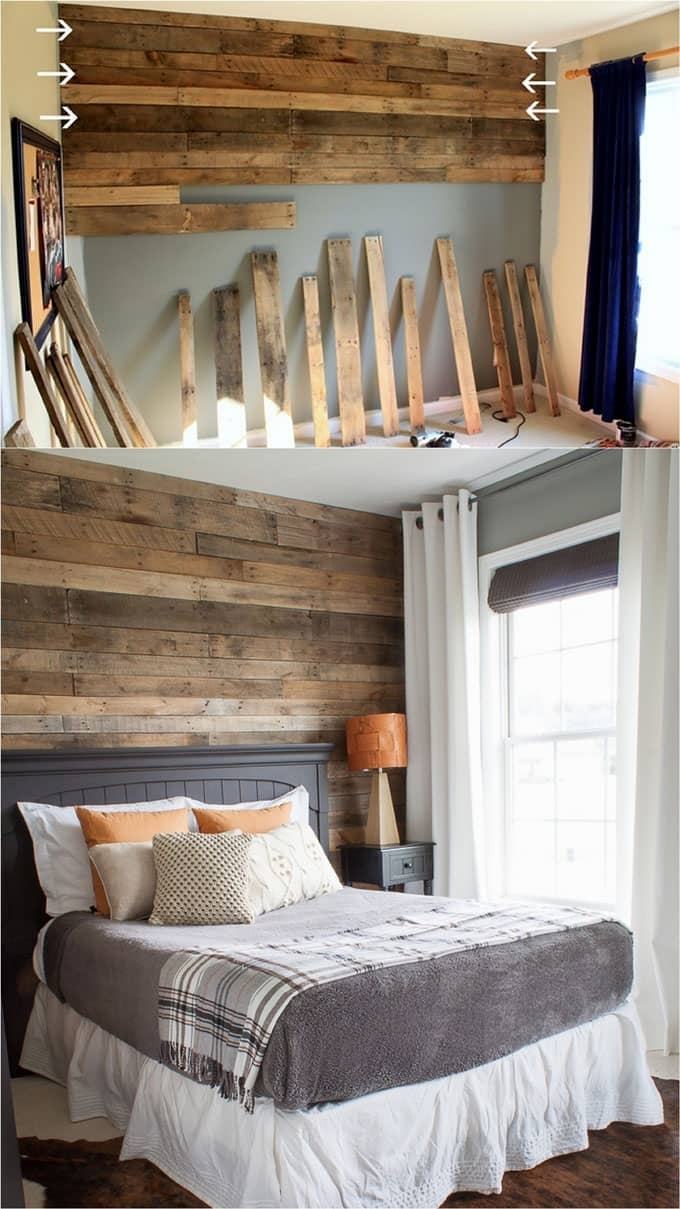 Pallet Wall And Shiplap Wall 30 Beautiful Diy Wood Wall Ideas Throughout Best And Newest Wood Pallets Wall Accents (Gallery 8 of 15)