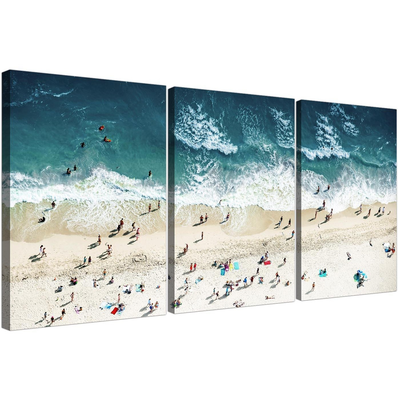 Panoramic Blue Beach – Landscape Canvas Multi 3 Panel – 125Cm Wide In Most Current Gold Coast Canvas Wall Art (View 10 of 15)