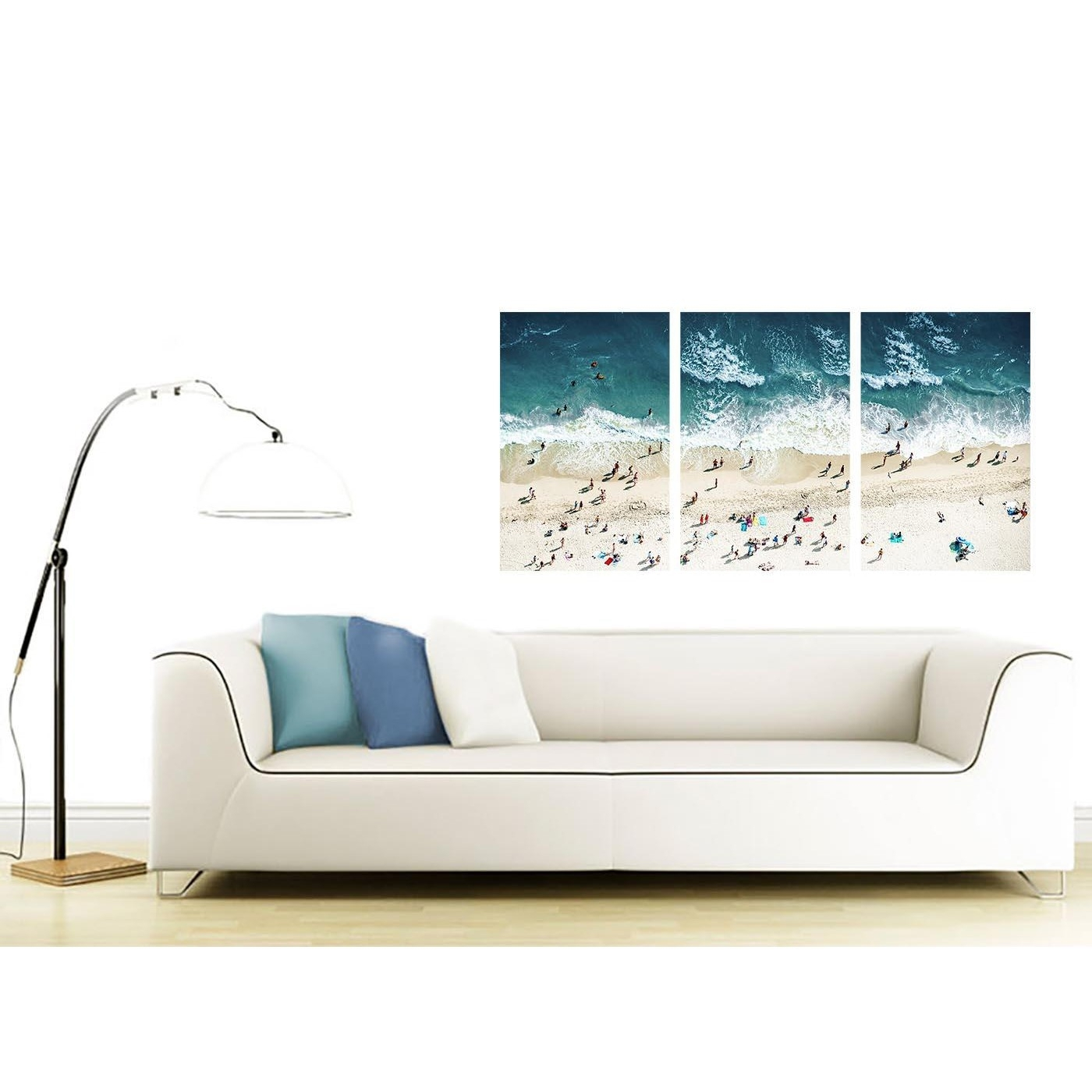 Panoramic Blue Beach – Landscape Canvas Multi 3 Panel – 125Cm Wide Intended For Newest Gold Coast Canvas Wall Art (View 11 of 15)