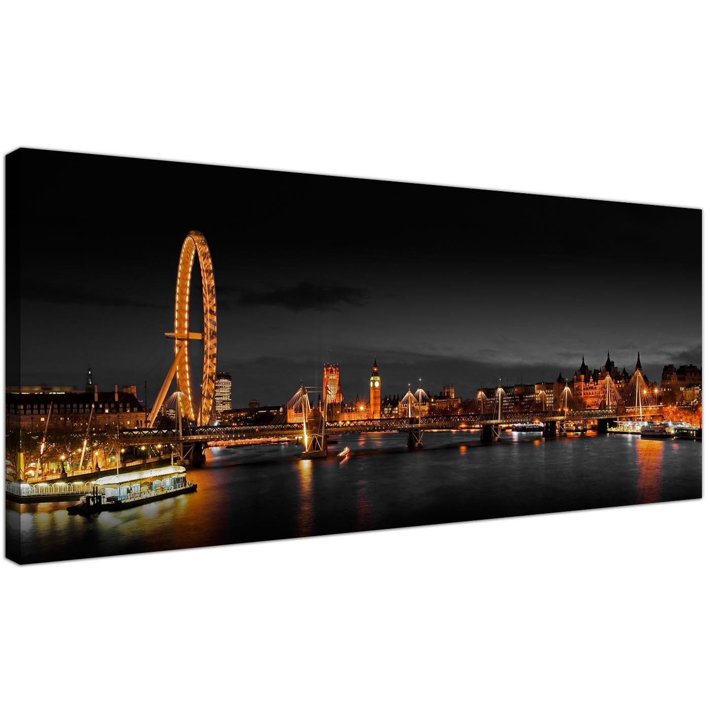 Panoramic Canvas Wall Art Of London Eye At Night For Your Living Room in Latest Panoramic Canvas Wall Art
