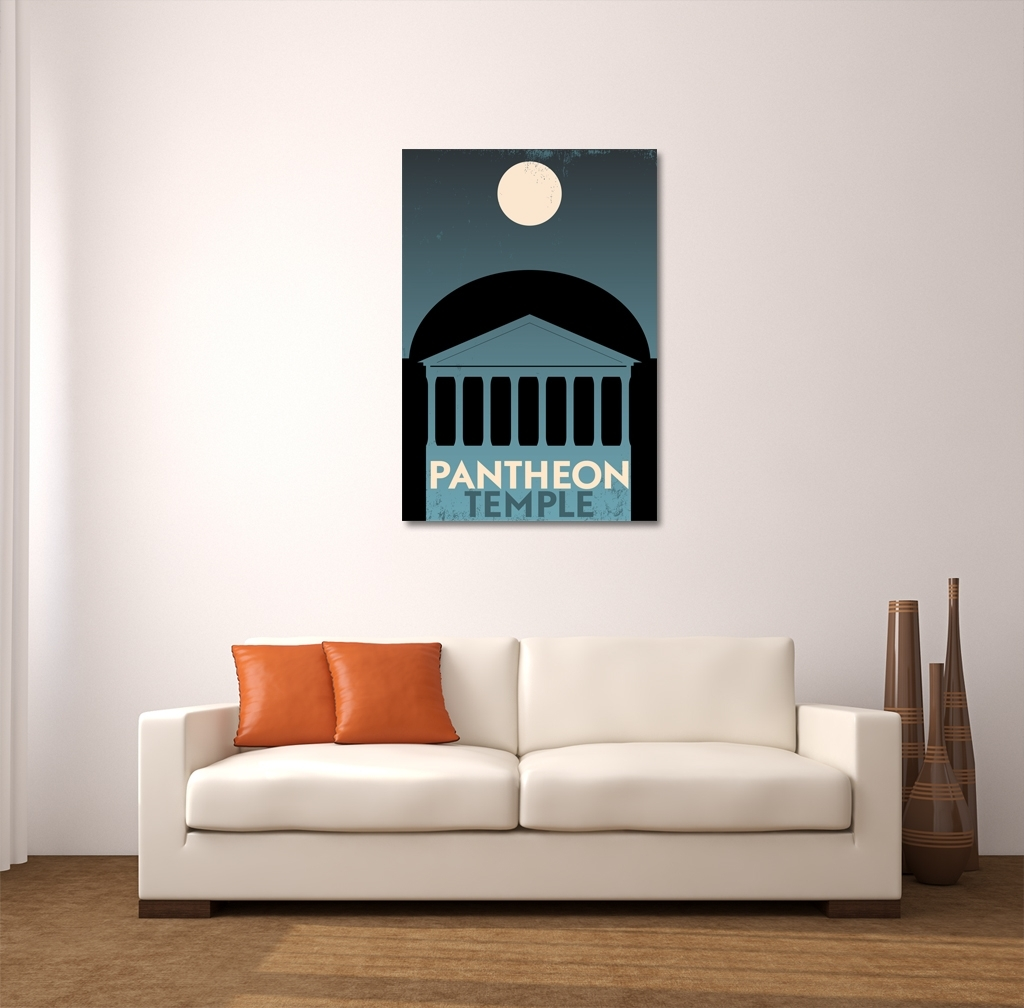 Pantheon Greece Vintage Travel Poster Canvas Wall Art For Most Popular Greece Canvas Wall Art (View 13 of 15)