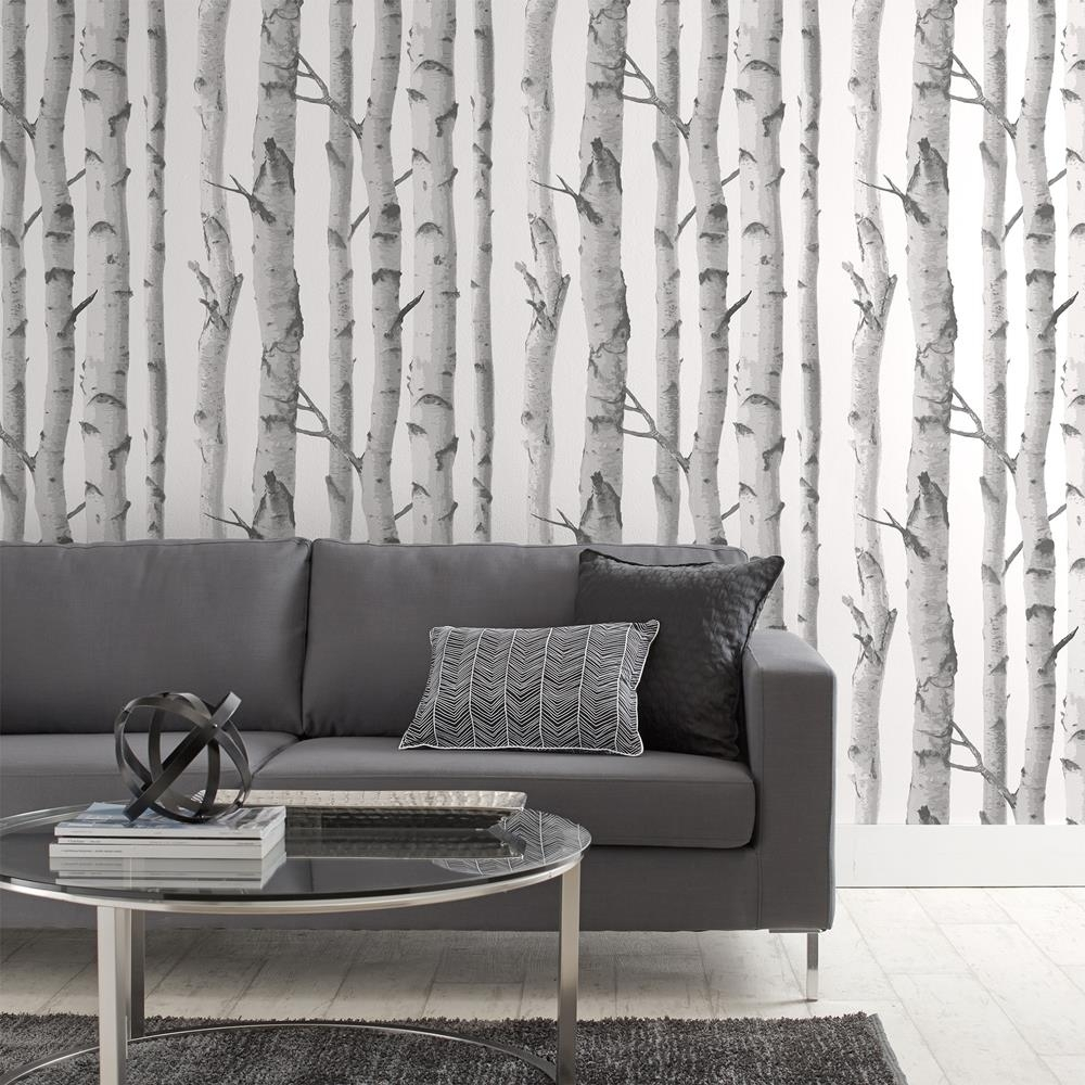 Papier Peint Avec Motif De Bouleaux - Rouleau Double | Birch Tree in Most Current Wallpaper Wall Accents