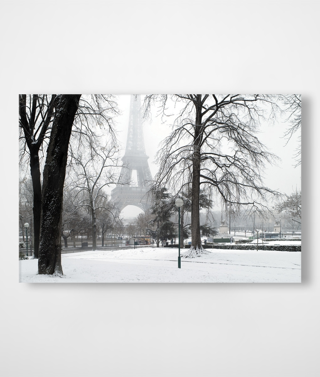 Paris In Winter Snow Canvas Print | Framingland Regarding Most Current Eiffel Tower Canvas Wall Art (View 11 of 15)