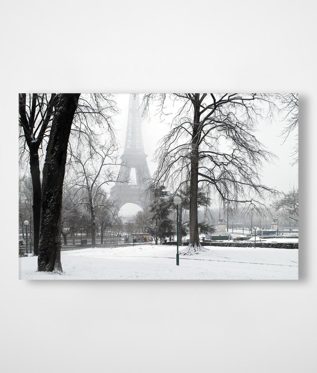 Paris In Winter Snow Canvas Print | Framingland Regarding Most Current Eiffel Tower Canvas Wall Art (Gallery 11 of 15)