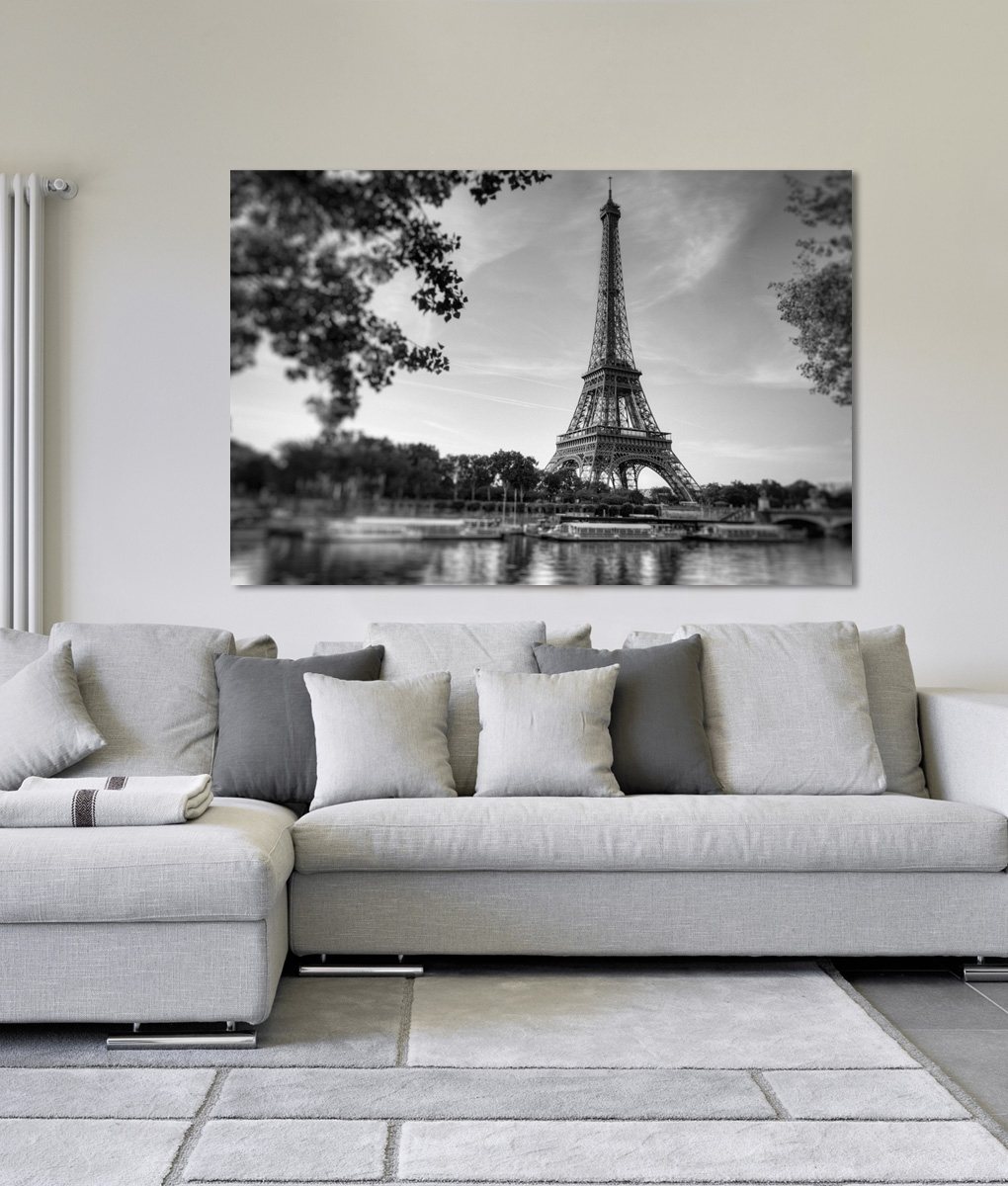 Paris Siene River Eiffel Tower Canvas Print | Framingland Pertaining To Current Eiffel Tower Canvas Wall Art (View 12 of 15)