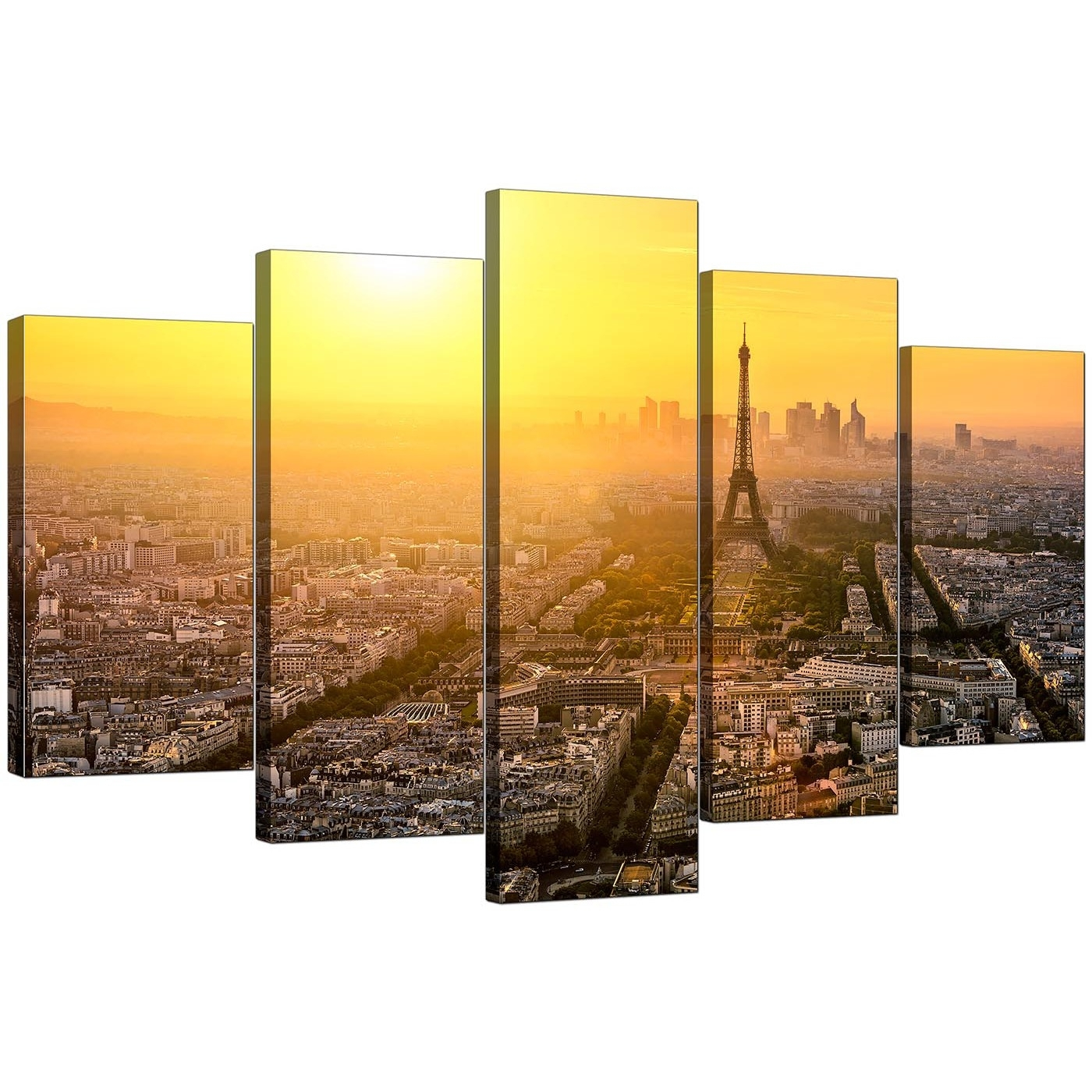 Paris Skyline Canvas Pictures For Your Office – 5 Panel With Regard To 2018 Canvas Wall Art Of Paris (View 11 of 15)