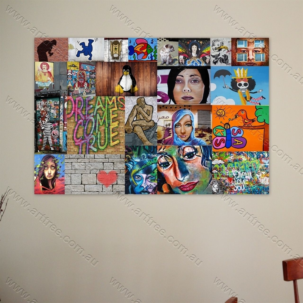 Penguin Street Art Collage Print #art #street Art #canvas | Wall Pertaining To Best And Newest Geelong Canvas Wall Art (View 6 of 15)