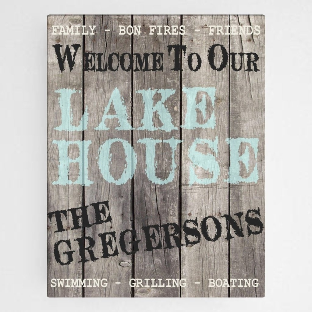 "Personalized Canvas, Wood Grain ""welcome To Our Lake House"" Wall Intended For Most Popular Rustic Canvas Wall Art (View 13 of 15)"