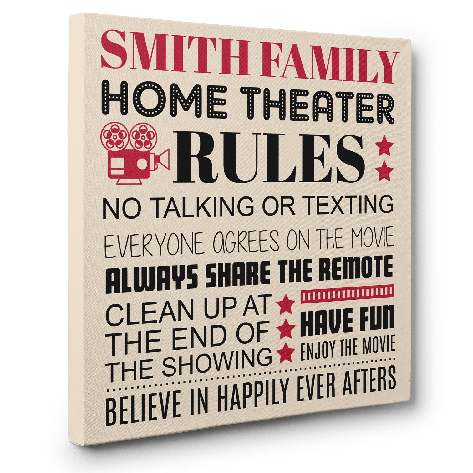 Personalized Family Rules Theater Cinema Wall Art Canvas Decor With Regard To Best And Newest Canvas Wall Art Family Rules (View 10 of 15)