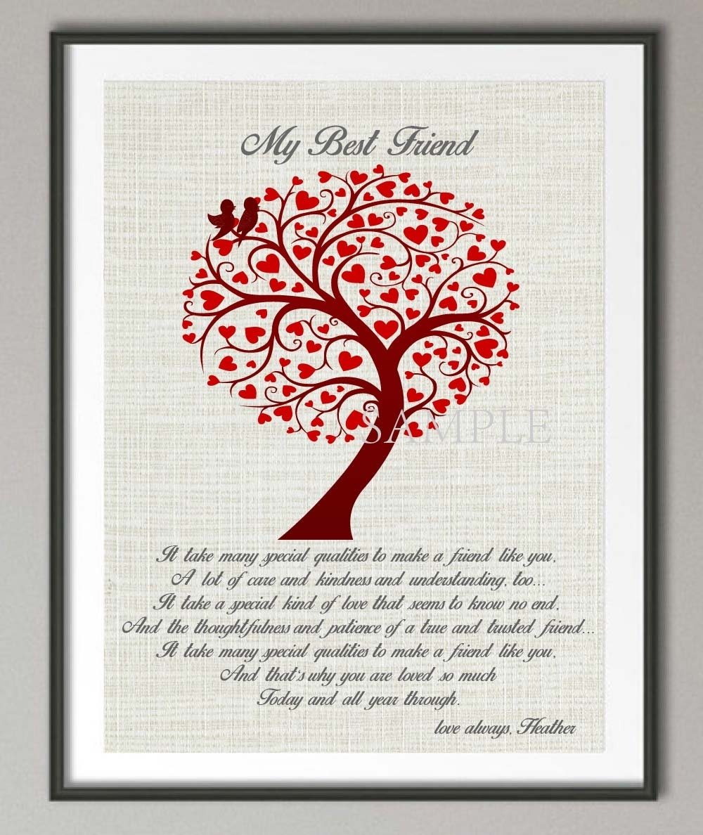 Personalized Gift For Friend Best Friend Quote Poster Print With Regard To Best And Newest Canvas Wall Art Family Quotes (View 7 of 15)