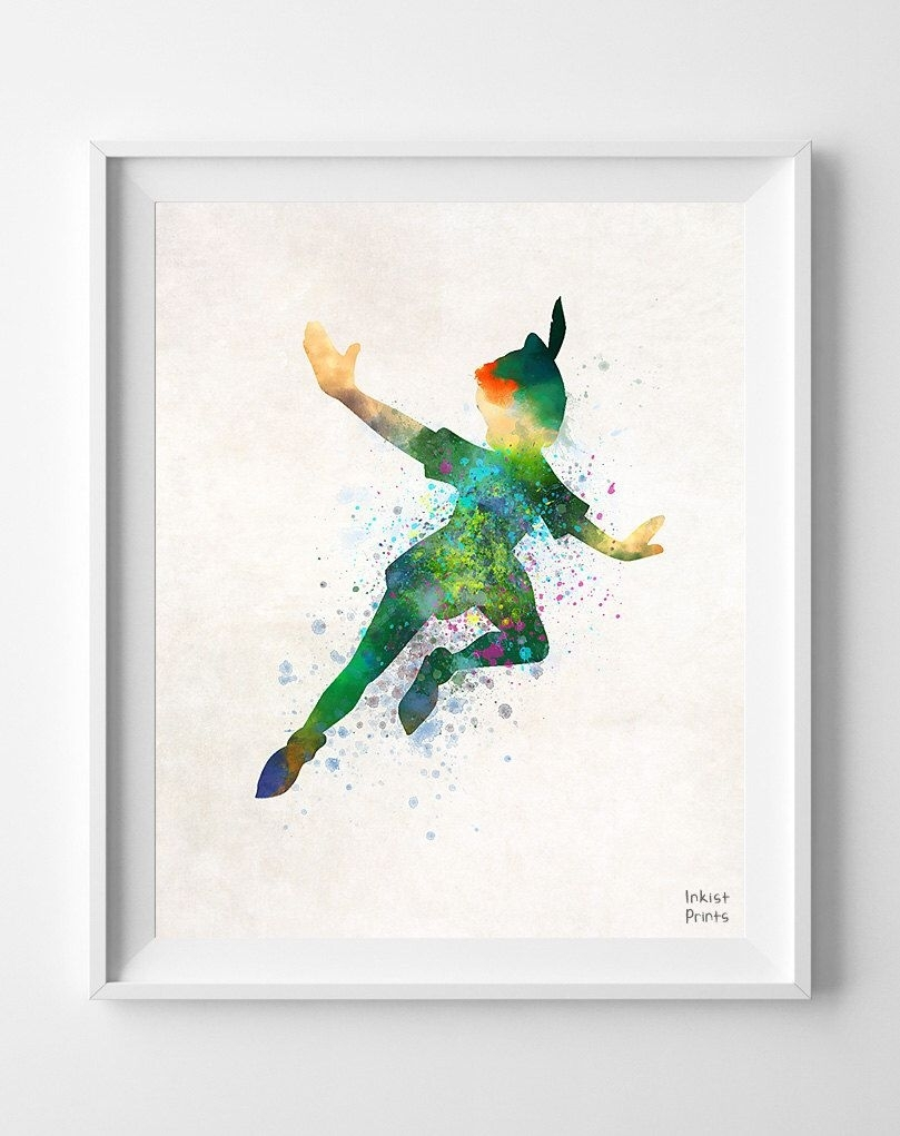 Peter Pan Poster, Peter Pan Watercolor, Gift For Her, Disney Art For Best And Newest Disney Framed Art Prints (Gallery 14 of 15)